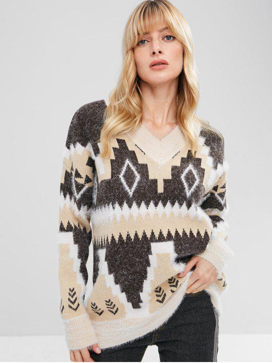 outfits Drop Shoulder Geometric Jacquard Sweater - MULTI ONE SIZE