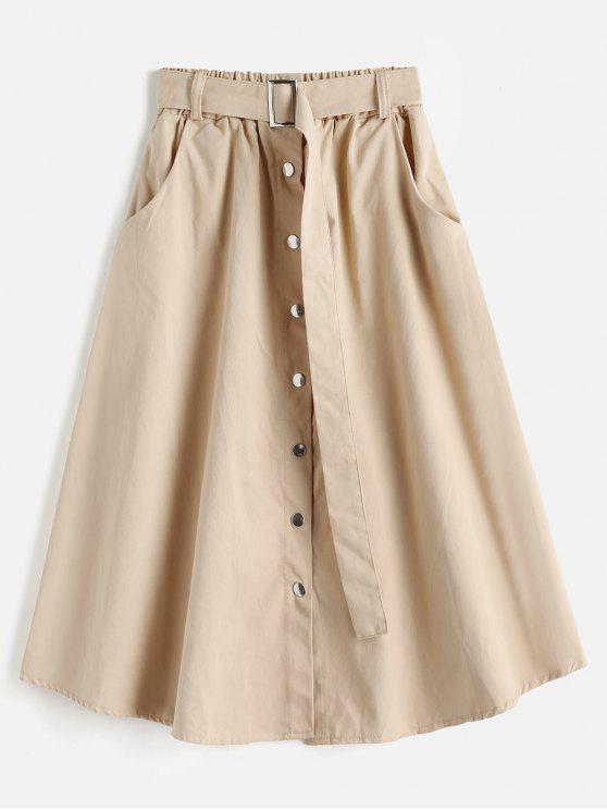 Jupe Ceinturée Boutonnée avec Poche - Bronze Taille Unique