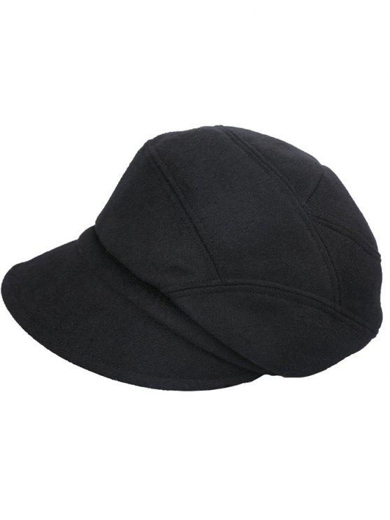 hot British Style Solid Color Newsboy Cap - JET BLACK