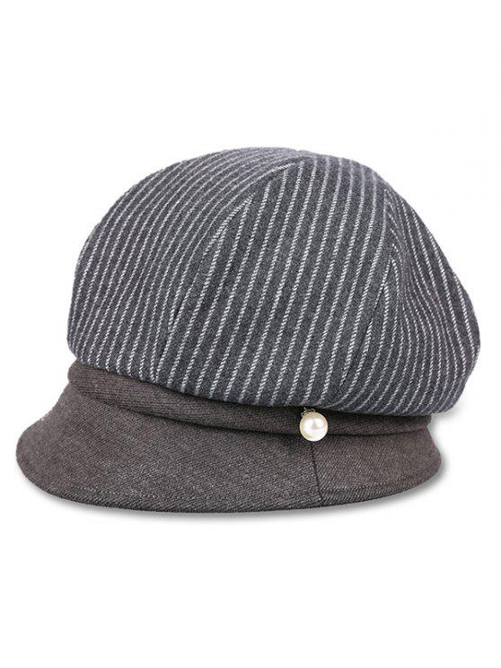 outfit Vintage Vertical Striped Newsboy Hat - GRAY