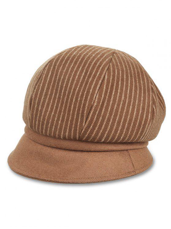 Chapeau de Newsboy Motif Rayures Verticales Style Vintage - Brun Clair