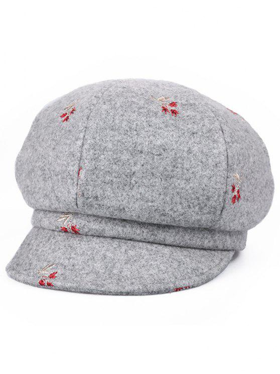 buy Floral Embroidery Elegant Newsboy Hat - GRAY CLOUD