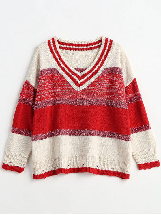 lady Shiny Thread Stripes V Neck Sweater - RED ONE SIZE
