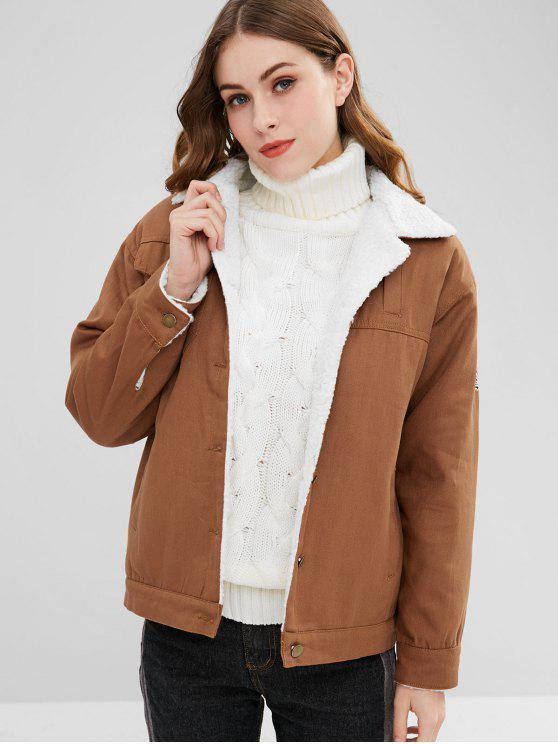 buy Graphic Faux Shearling Coat - LIGHT BROWN L