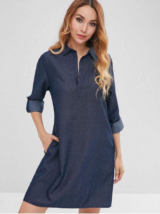hot Cuffed Sleeves Loose Chambray Dress - DENIM DARK BLUE M