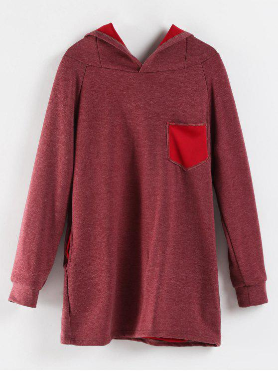 fashion Rabbit Ear Marled Hoodie - PALE VIOLET RED M