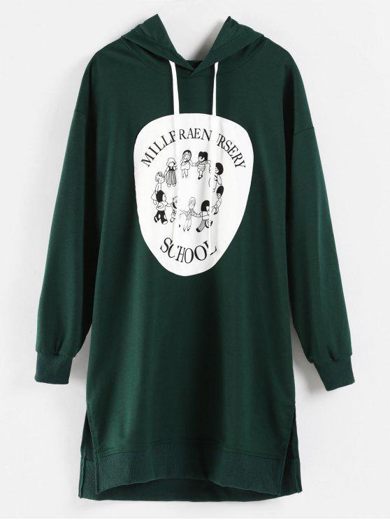 chic Cartoon Print Mini Hoodie Dress - DARK GREEN XL