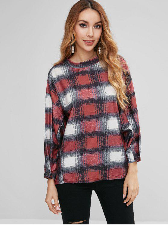 women Covered Button-Cuff Checked Sweatshirt - MULTI-A M