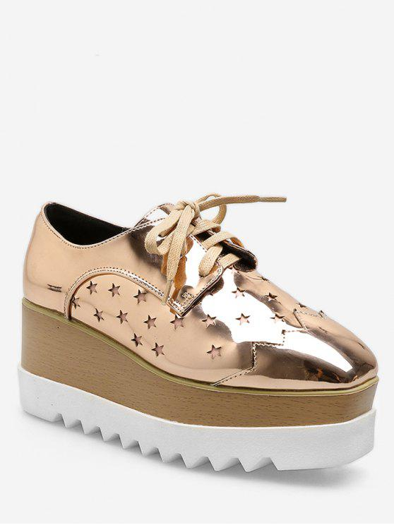 best Lace Up Star Wedge Platform Sneakers - CHAMPAGNE EU 37