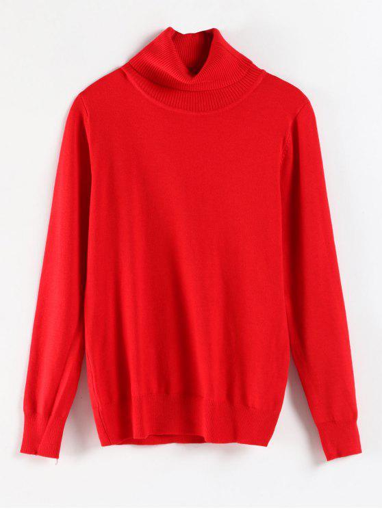 Maglione A Costine Con Collo Alto - Rosso L