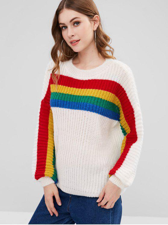 Красочный полосатый парень Чёрный свитер - Белый Один размер
