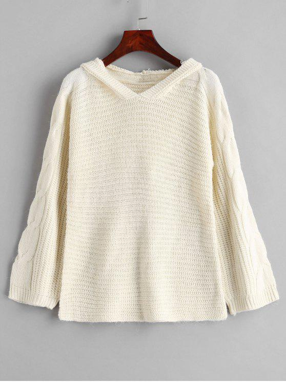 best Cable Knit Hooded Sweater - BEIGE M