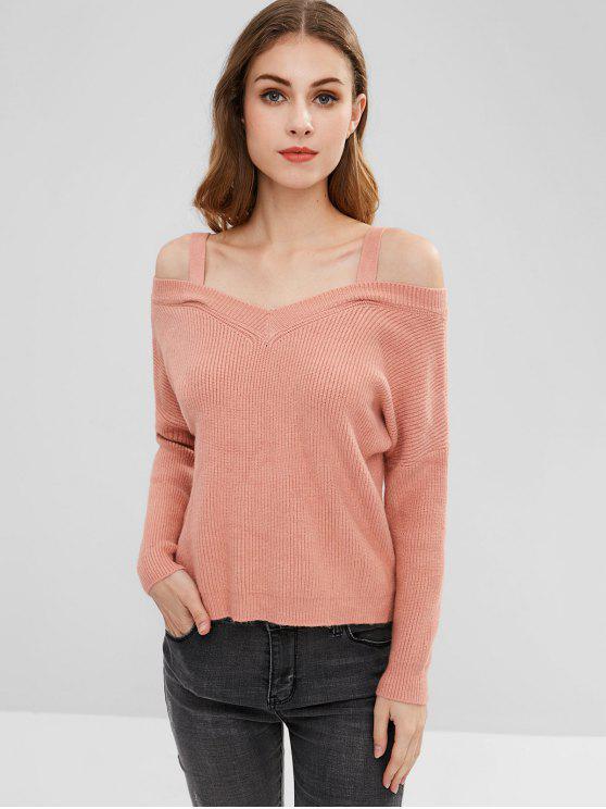 hot Slight Slit Cold Shoulder Sweater - ORANGE PINK ONE SIZE