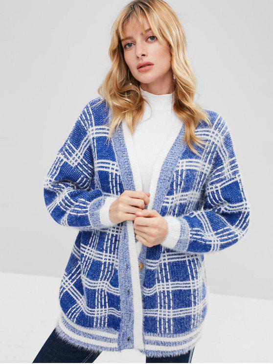 online Button Front Oversized Checked Cardigan - BLUE ONE SIZE