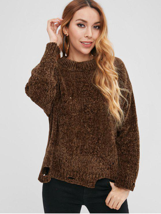 women's Ripped Knit Sweater - BROWN ONE SIZE