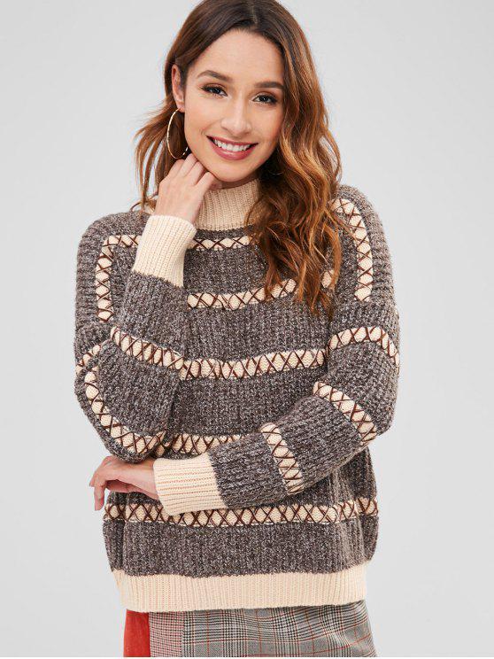 sale Mock Neck Color Block Boyfriend Cross Sweater - MULTI-A ONE SIZE