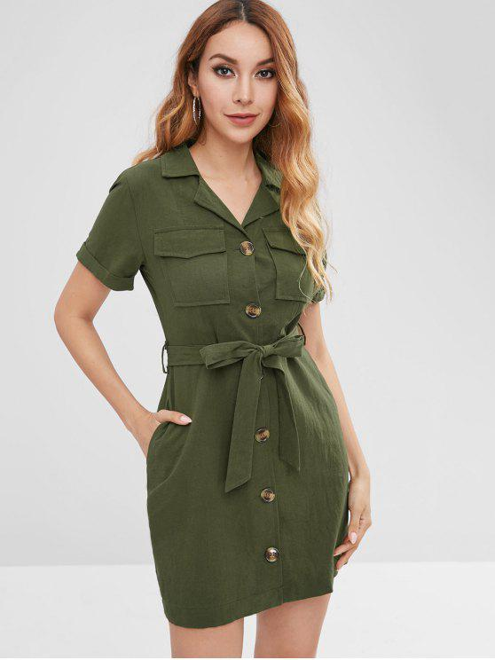 85b7c3305607 29% OFF  2019 Button Through Belted Shirt Dress In ARMY GREEN