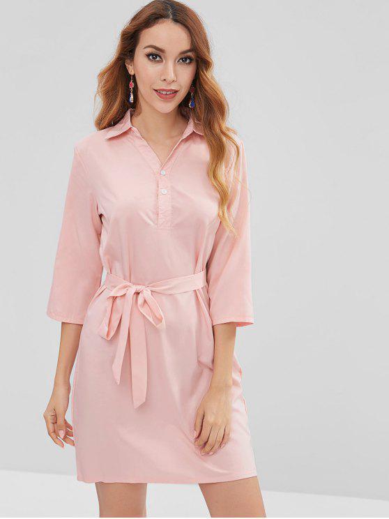 Vestido de camisa de meio botão - Rosa Claro XL