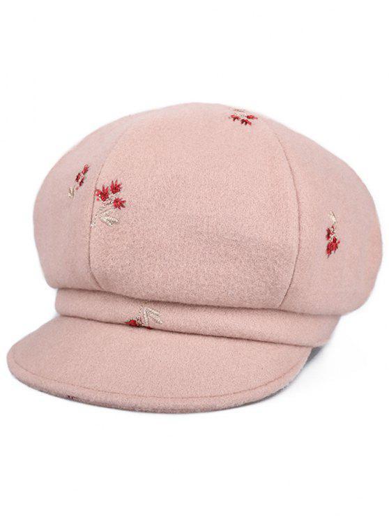Cappello Vintage Da Strillone Con Ricamo Floreale - Rosa