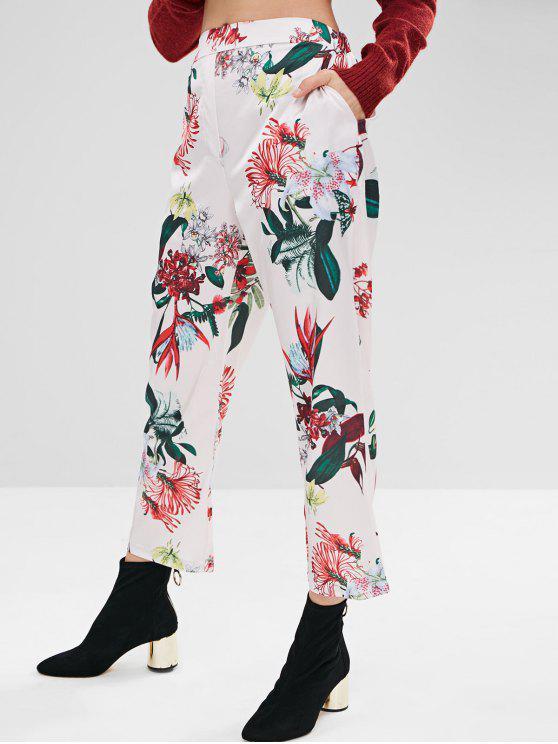 ladies Straight Leg Printed Pants - WHITE M