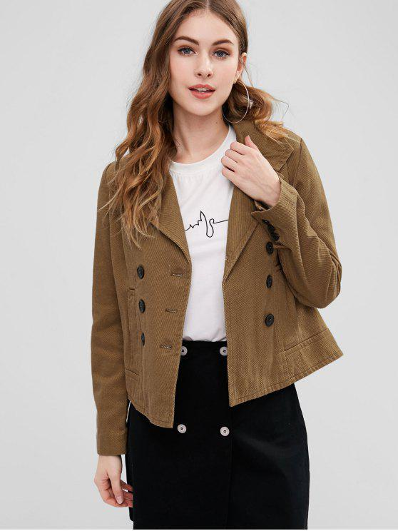 affordable Double Breasted Corduroy Jacket - COFFEE M