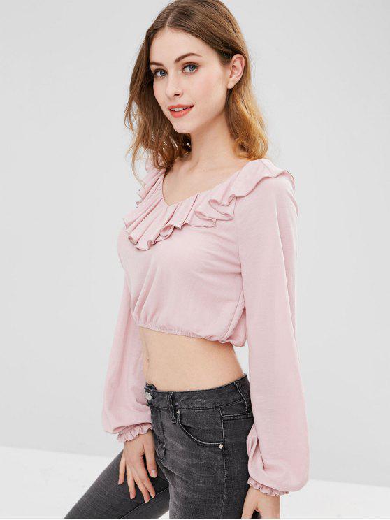 shops ZAFUL Ruffled Long Sleeve Crop Blouse - LIGHT PINK L