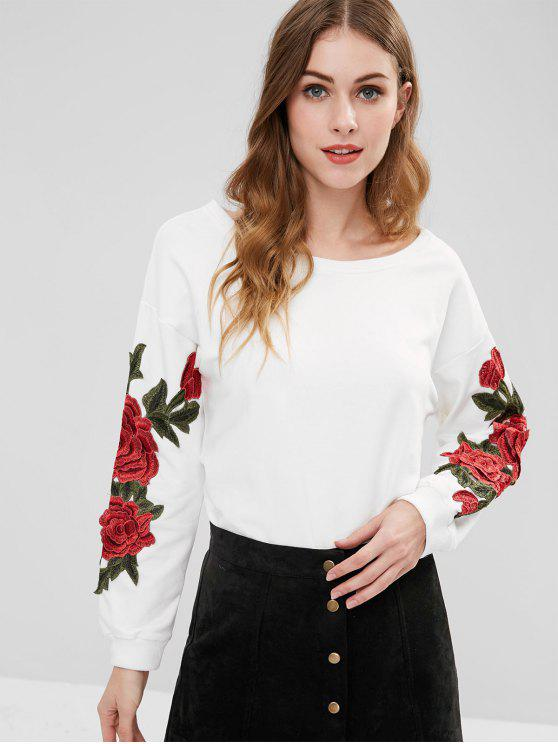 women's Floral Applique Tunic Sweatshirt - WHITE M