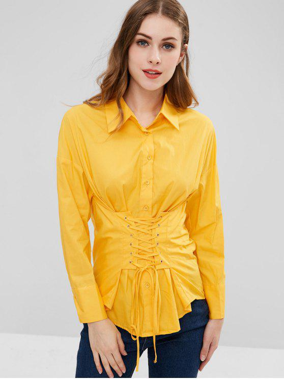 الخصر الدانتيل يصل القميص - المطاط الحبيب الأصفر L