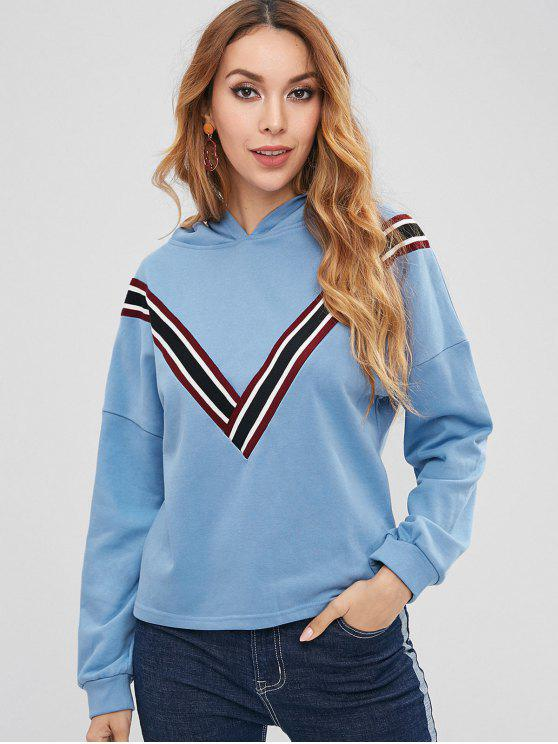 women's ZAFUL Striped Patched Loose Hoodie - DAY SKY BLUE M