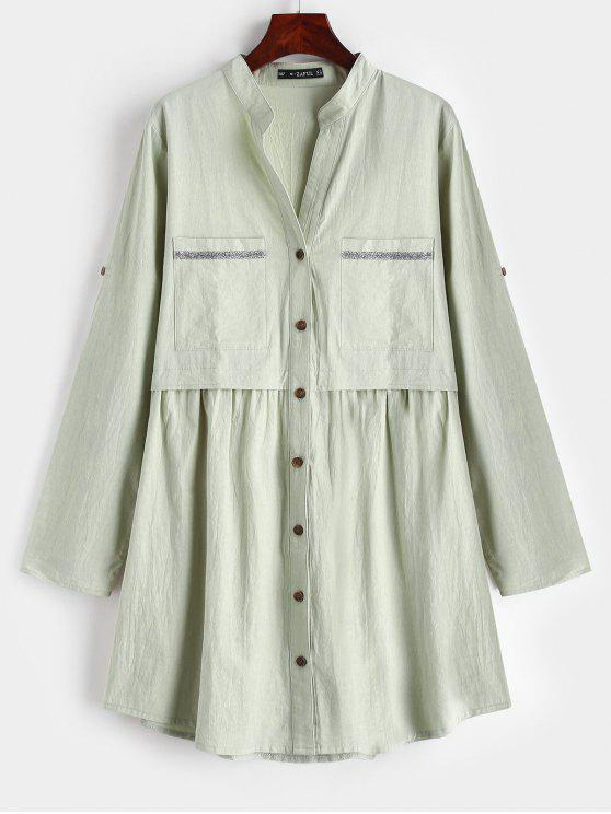 online ZAFUL Pockets Button Up Tunic Shirt Dress - DARK SEA GREEN S