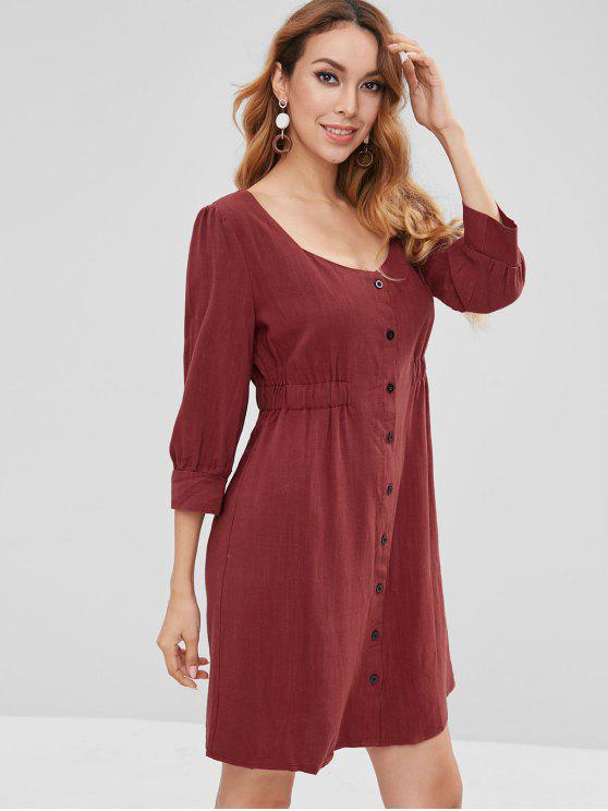 women ZAFUL Button Front Plain Mini Dress - RED WINE S
