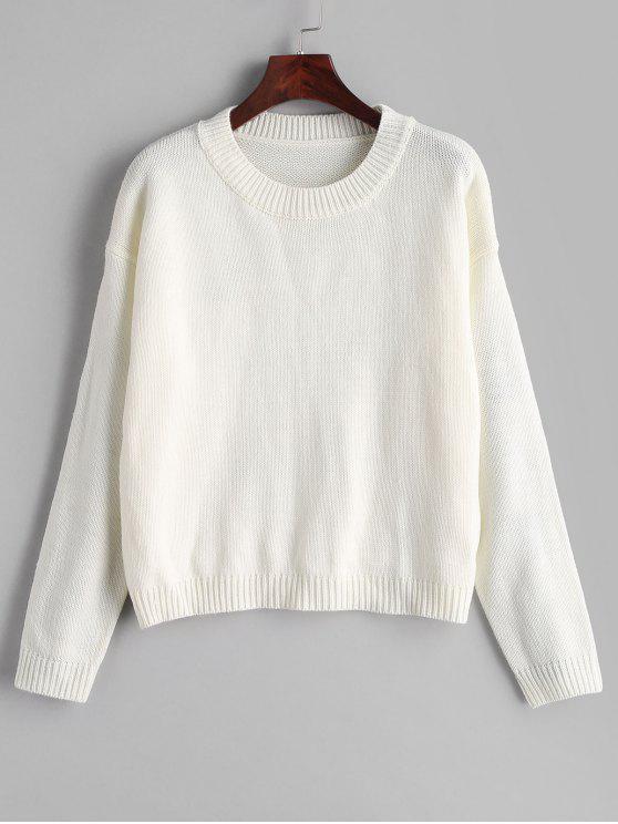 women's Plain Drop Shoulder Sweater - WHITE ONE SIZE