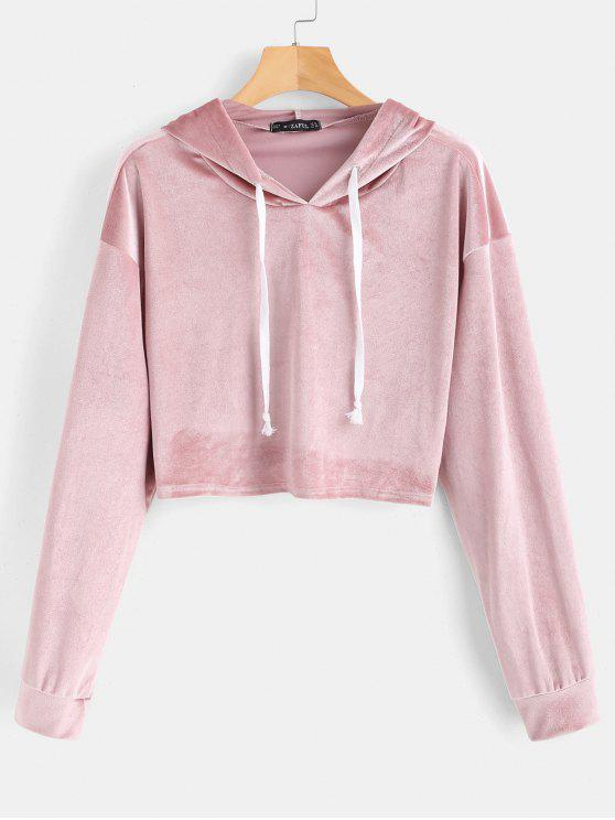 outfit ZAFUL Drawstring Velvet Cropped Hoodie - LIPSTICK PINK M