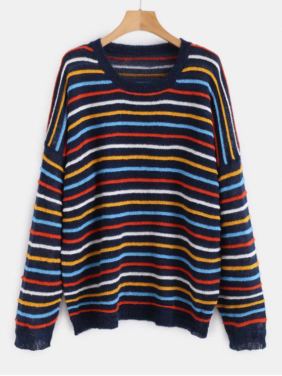 Suéter de gran tamaño a rayas jersey - Multicolor-B Talla única
