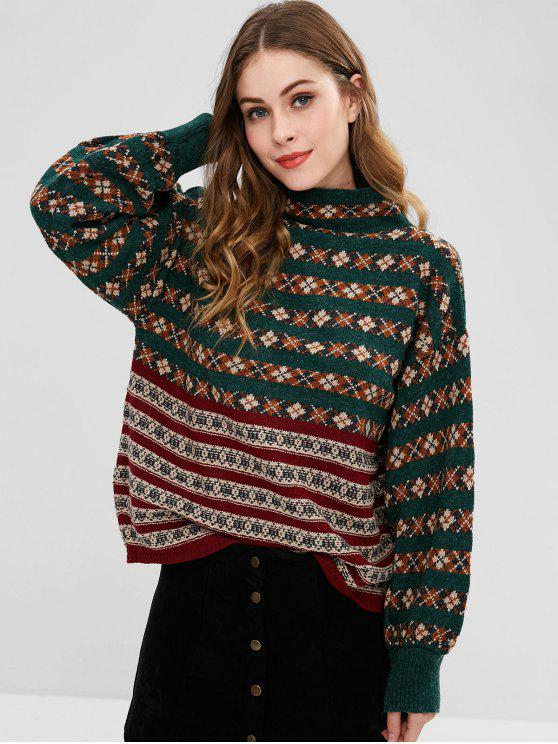 affordable Mock Neck Color Block Christmas Sweater - DEEP GREEN ONE SIZE
