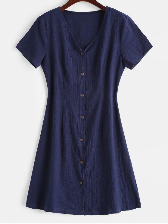 shop ZAFUL V Neck Button Up Casual Dress - MIDNIGHT BLUE M