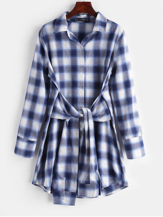 hot Plaid Knotted Shirt Dress - MIDNIGHT BLUE L