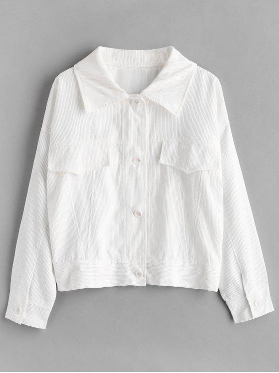 hot ZAFUL Button Up Corduroy Jacket - WHITE M