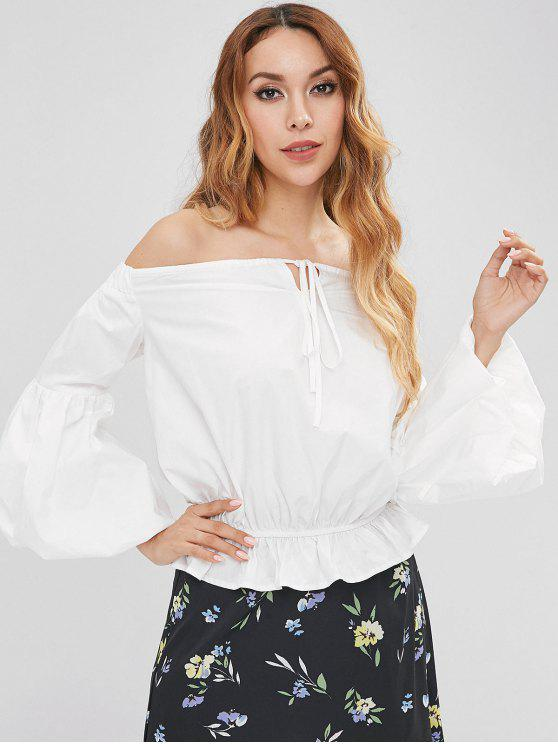 women Balloon Sleeve Off The Shoulder Blouse - WHITE S