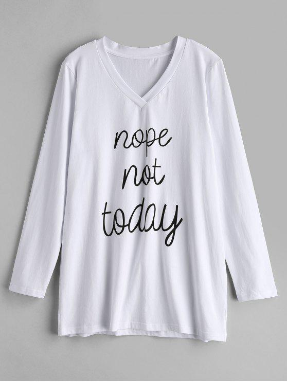 outfits ZAFUL Graphic Slogan Long Sleeve Tee - WHITE S