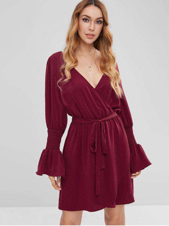 new ZAFUL Surplice Flare Sleeve Plunge Dress - RED WINE S