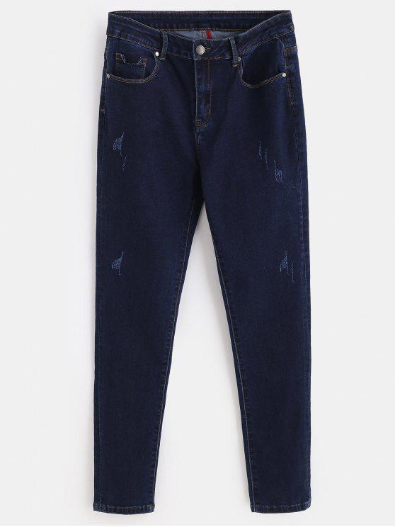 latest ZAFUL Distressed Skinny Jeans - DEEP BLUE L