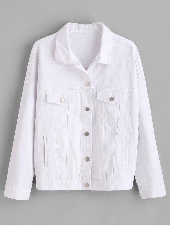 buy ZAFUL Pockets Western Denim Jacket - WHITE L