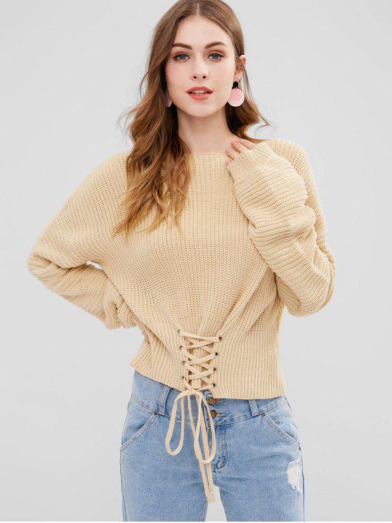 lady ZAFUL Lace-up Drop Shoulder Sweater - APRICOT ONE SIZE