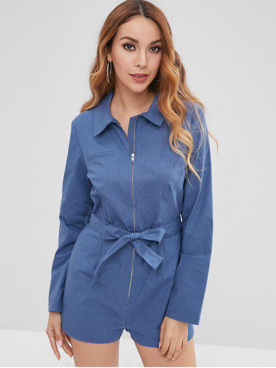 women's ZAFUL Zip Up Long Sleeve Chambray Romper - DENIM DARK BLUE XL