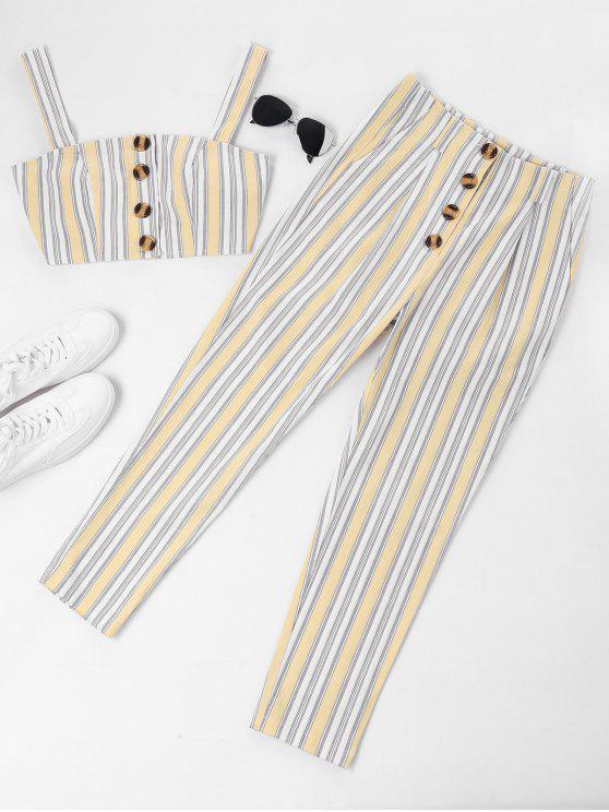 Conjunto de pantalones y top con botones a rayas ZAFUL - Vainilla M
