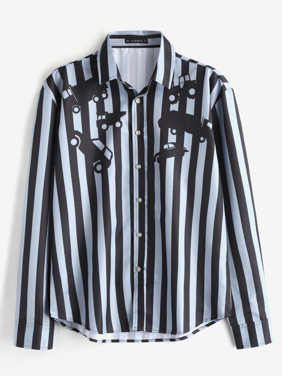 Camicia Casuale A Righe Con Stampa Macchine Di ZAFUL - Blu Grigio L