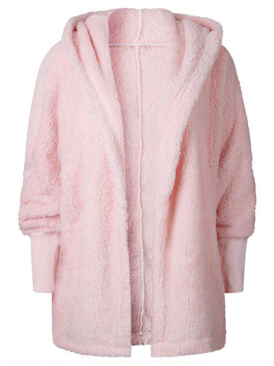 buy Oversize Open Front Furry Coat - PINK XL