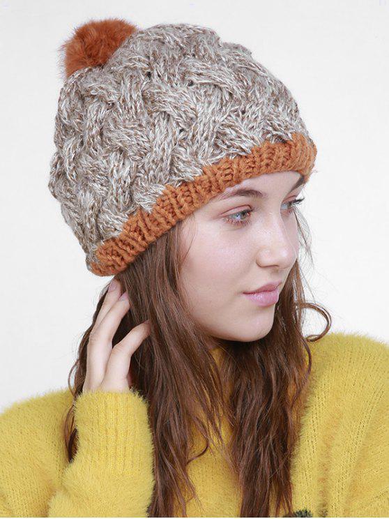 Bonnet tricoté en crochet à boule floue d'hiver - Kaki Léger