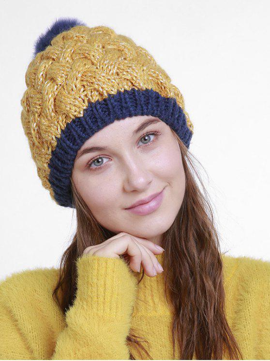 Bonnet tricoté en crochet à boule floue d'hiver - Verge d'Or